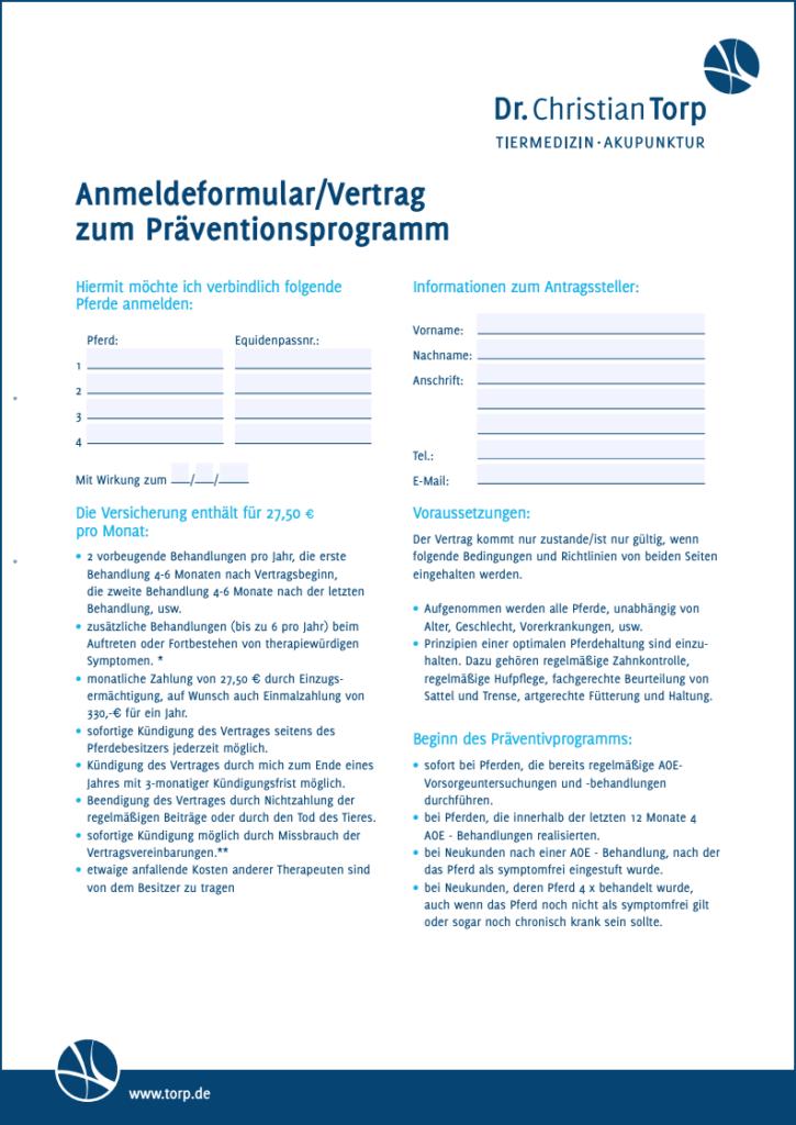 Formular Anmeldung Präventionsprogramm
